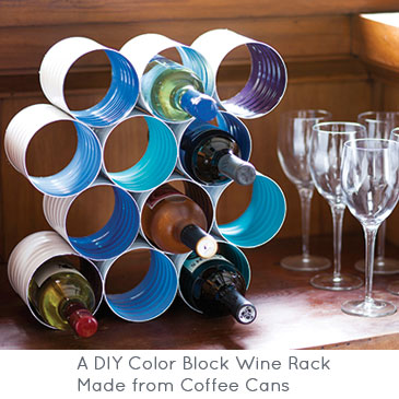 A DIY Wine Rack Made from Coffee Cans | Brit + Co.